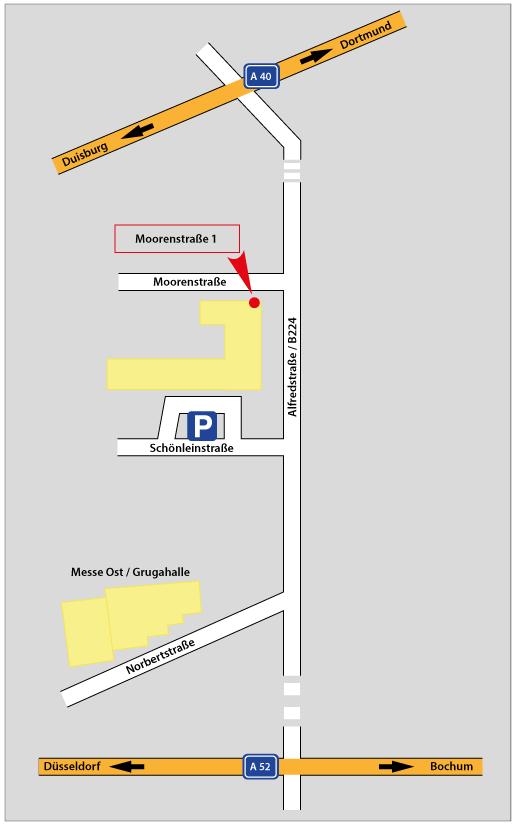 Anfahrt und Parkmöglichkeit Moorenstraße 1 in Essen